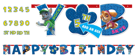 Paw patrol Add and age Happy birthday Banner NZ