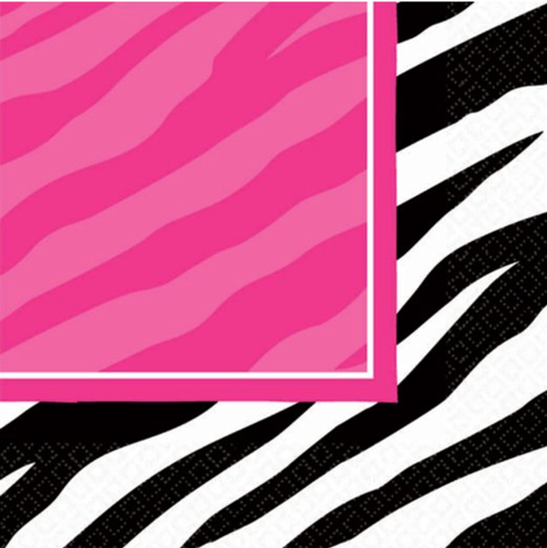 Pink Zebra Party Lunch Napkins