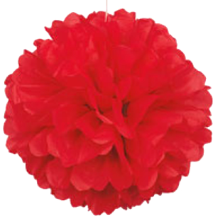 Red Puff Ball Tissue Decorations