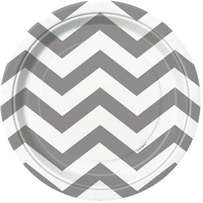 Silver Chevron Lunch Plates