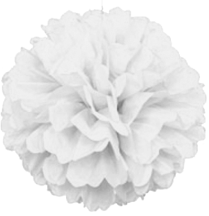 White Puff Ball Tissue Decorations