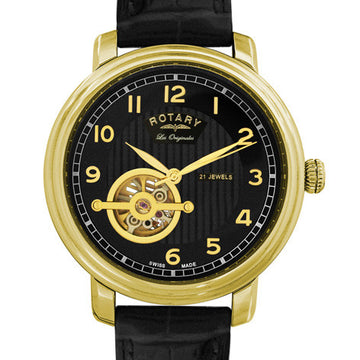Rotary Jura Swiss semi-skeleton gold plated watch Product Code: GS90504/19