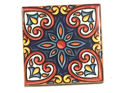 Hand Printed Ceramic Tiles 4.8 x 4.8 cm - Pattern 48 (HM)