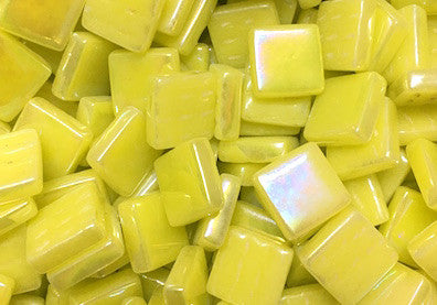 Yellow iridised glass 12mm mosaic tiles