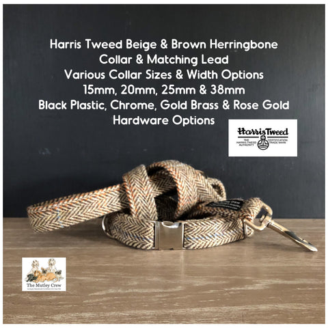 Harris Tweed Beige & Brown Herringbone dog collar & matching lead