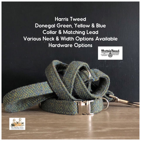 Harris Tweed Donegal Green, Yellow & Blue Dog Collars, Leads & Accessories