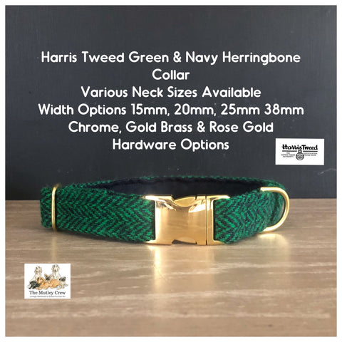 harris tweed green herringbone dog collar