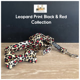 leopard print black & red collar, lead and bowtie
