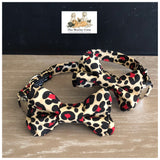 Leopard Print Black and red collars and bowtie