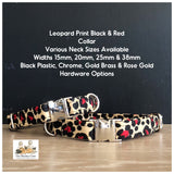 leopard print black & red dog collars