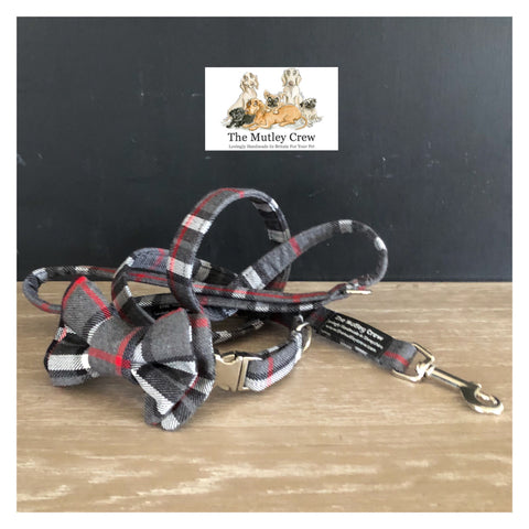 Thompson Grey Tartan Dog Collars, Leads & Accessories
