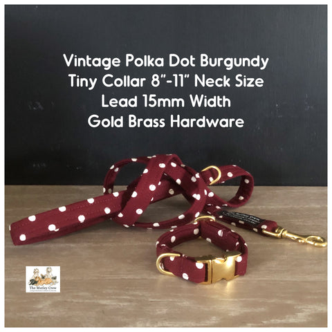 The Vintage Polka Dot Collection -  Burgundy Dog Collars, Leads & Accessories