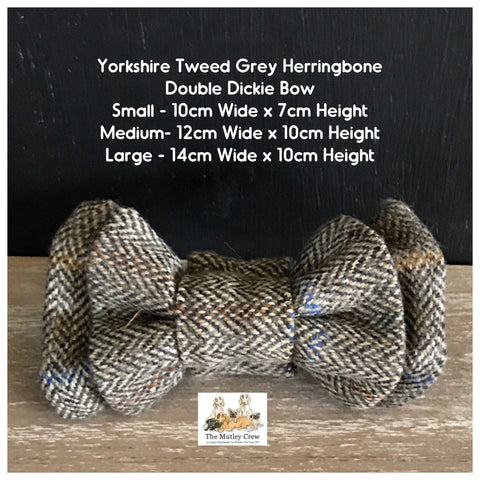 yorkshire tweed grey herringbone dog bowtie