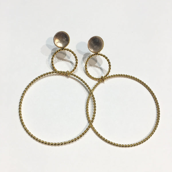 Double Hoop Crystal Earrings Nude
