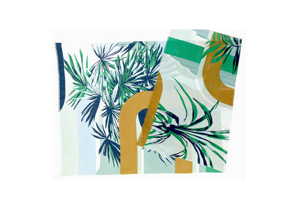 Tropical Cotton Scarf Mint