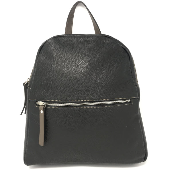 Zipped Leather Backpack Black with Taupe
