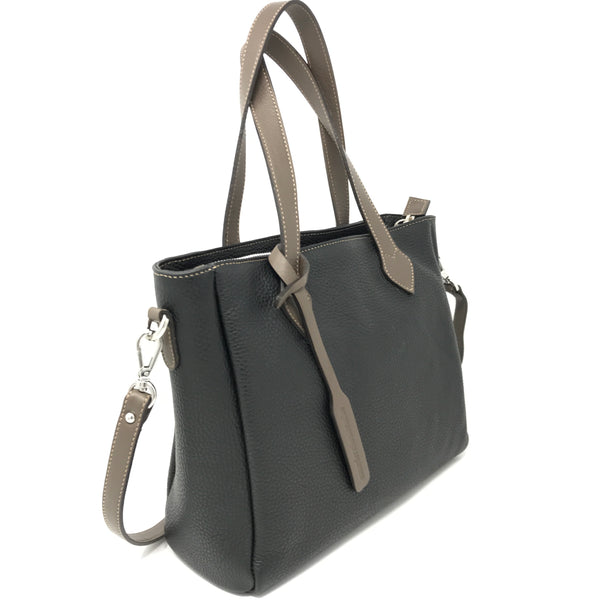 Crossbody Tote Black with Taupe