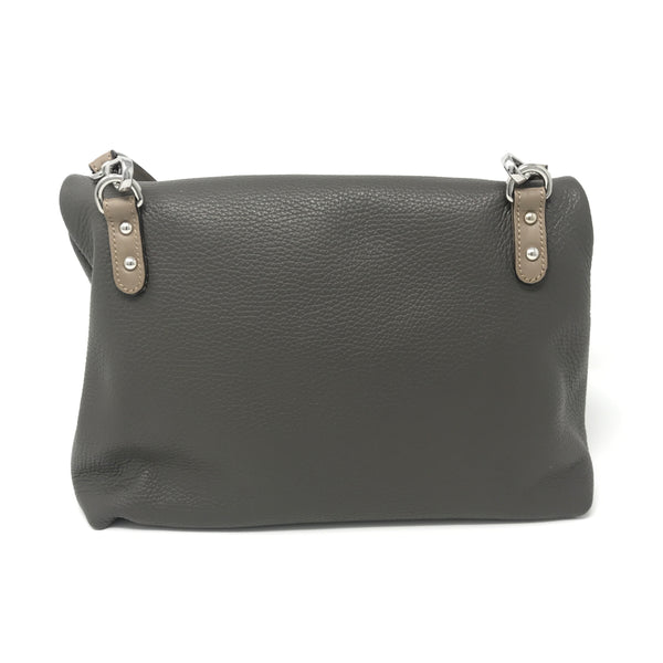Folded Crossbody Bag Fog Grey with Taupe