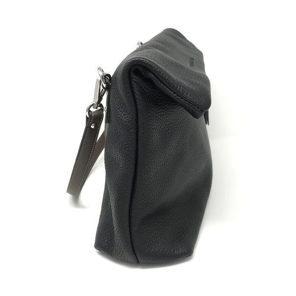 Folded Crossbody Bag Black with Taupe