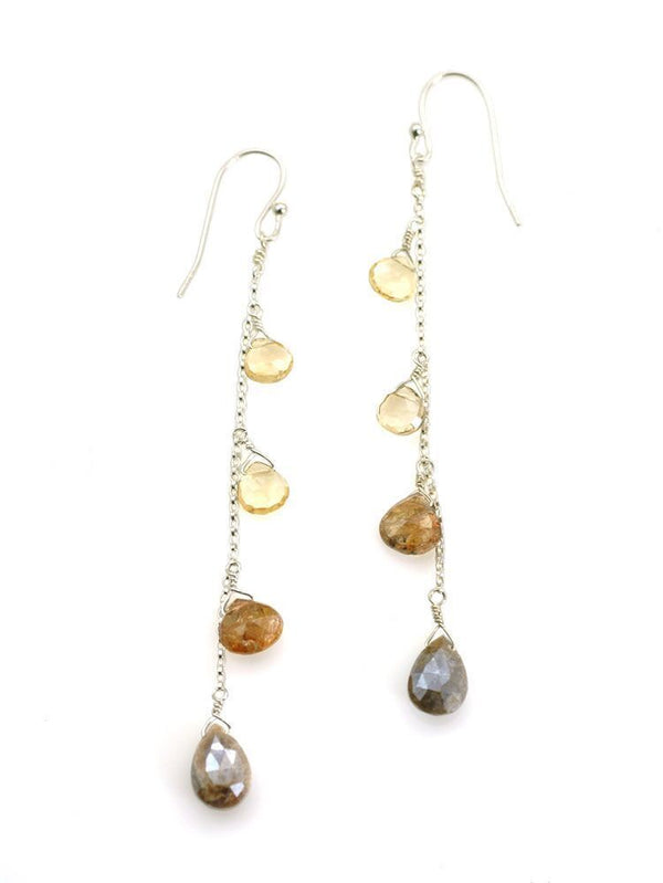 Citrine, andalusite, zircon drop, silver earrings