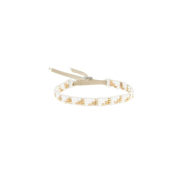 Warrior Bracelet Extra Small Triangle - White & Gold