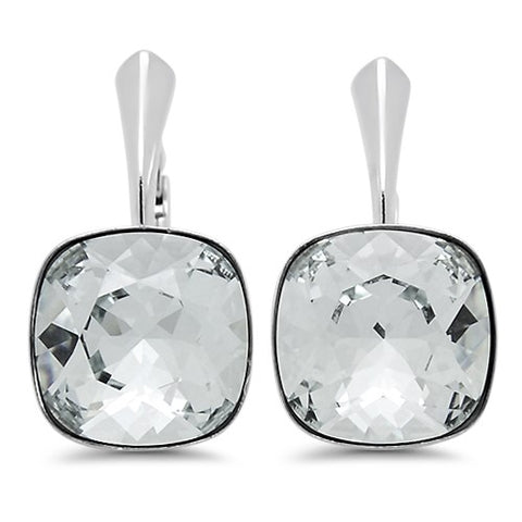 Square Crystal Leverback Earrings