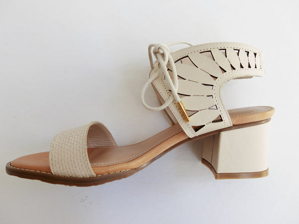 SS17003 Leather laser cut block heel sandals in Brown and Cream 30% off - Sam Star shoes