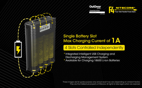 Nitecore F4 Four Slot Flexible Power Bank is a single battery slot Maximum Charging Current of 1A.