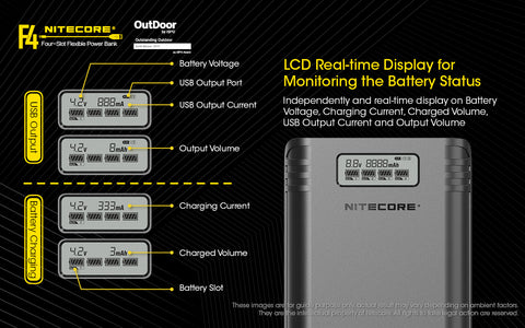 Nitecore F4 Four Slot Flexible Power Bank is a LSD real time display for monitoring the battery status.