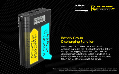 Nitecore F4 Four Slot Flexible Power Bank is a battery group discharging function.