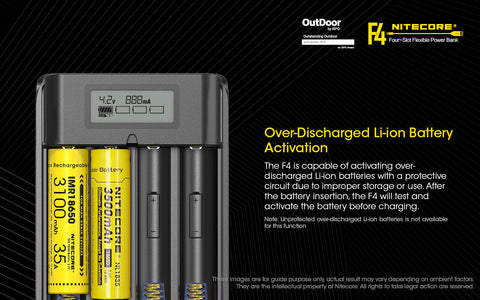 Nitecore F4 Four Slot Flexible Power Bank is a over discharged Li-ion Battery Activation.