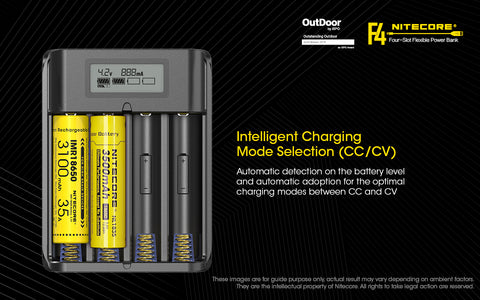 Nitecore F4 Four Slot Flexible Power Bank is an intelligent charging mode selection ( cc  cv )
