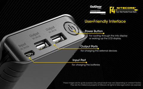 Nitecore F4 Four Slot Flexible Power Bank is user friendly interface.