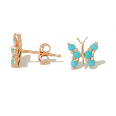 14K Gold & Turquoise Cabochon Butterfly Stud Earrings