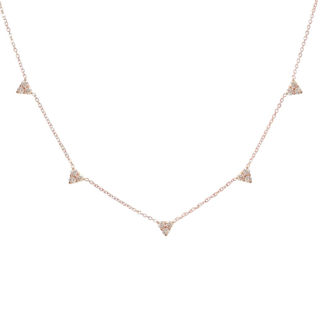 14K Gold Diamond 5 Trinity Cluster Charm Necklace