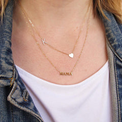 14K Gold 'MAMA' Charm Pendant Necklace ~ In Stock!