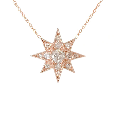 14K Gold & Pavé Diamond Starburst Pendant Necklace, Large Size