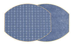 HOLLY'S KEY  Two Sided Reversible Hardboard Handcrafted Wipeable Placemat Navy