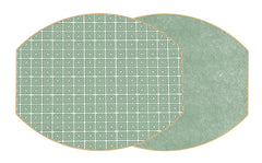 HOLLY'S KEY  Two Sided Reversible Hardboard Handcrafted Wipeable Placemat Saxon Green