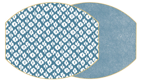 "Two Sided Ikat and Dot Fan 17"" X 14""  Ellipse Hardwood Placemat"
