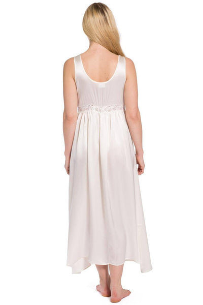 Women's 100% Pure Mulberry Silk Long Nightgown with Lace Bodice - Fishers Finery