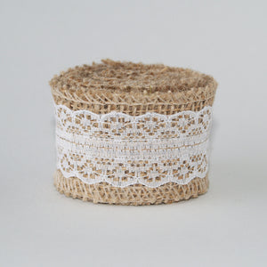 Burlap & White Lace Ribbon 4cm Wide- 2m length