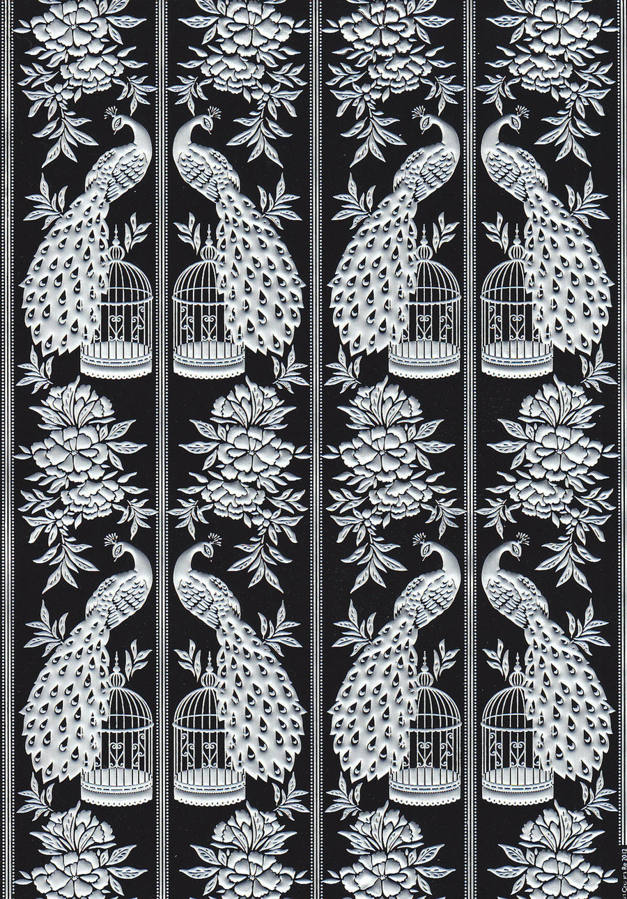 Embossed bird and cage design paper