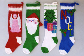 Ann Norling #1018 Christmas Stocking (Angel, Santa Face, Tree with Presents, Noel)