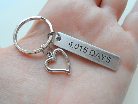 "11 Year Anniversary Gift • Stainless Steel Tag Keychain Engraved w/ ""4,015 Days"" w/ Heart Charm by Jewelry Everyday"