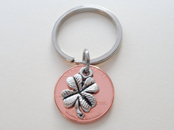 Clover Charm Layered Over 2016 Penny Keychain, 3 Year Anniversary Gift, Couples Keychain