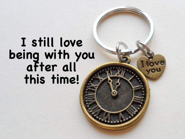 """I Love You"" Heart Charm with Bronze Clock Keychain - I Still Love Being With You After All This Time; Couples Keychain"
