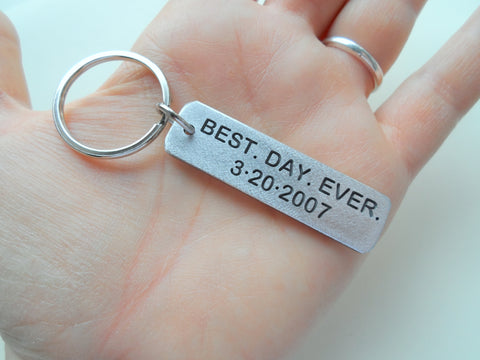 10 Year Anniversary Gift • Personalized Aluminum Tag Keychain Engraved w/ Anniversary Date; Options for Backside by Jewelry Everyday