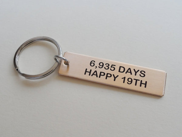 "19 Year Anniversary Gift • Bronze Tag Keychain Engraved w/ ""6,935 Days, Happy 19th"" Handmade by Jewelry Everyday"