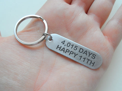 "Stainless Steel Tag Keychain Engraved with ""4,015 Days Happy 11th""; 11 Year Anniversary Couples Keychain"